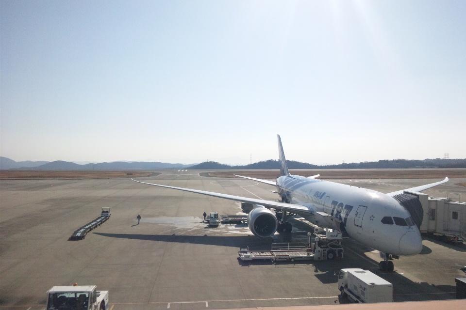 岡山空港 飛行機ボーイング787